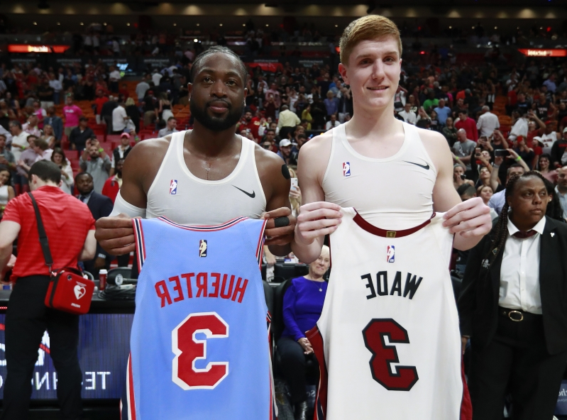 premium selection 1f33d 46a93 Dwyane Wade swapped jerseys with Hawks rookie Kevin Huerter ...